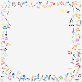 Music notes frame. Colorful flat  stock illustration Royalty Free Stock Images