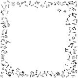 Music notes frame. Flat  stock illustration. Black and white Stock Images