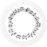 Music notes frame. Musical background. Music notes border. Musical background. Music style round shape frame with copy space for text. Treble clef and notes Stock Image