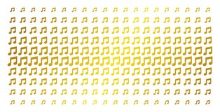 Music Notes Gold Halftone Effect. Music notes icon gold colored halftone pattern. Vector music notes pictograms are arranged into halftone matrix with inclined Royalty Free Stock Image