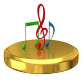 Music notes on gold podium Royalty Free Stock Images