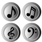 Music notes. On gradient gray circles Stock Images