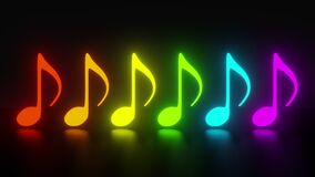 The music notes are gradually light up in color of the rainbow. Abstract neon glowing effect with halo. Concept of music, party an