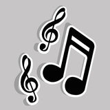 Music notes. On gray background, vector illustration Stock Images