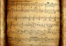 Music notes on grunge paper Stock Images