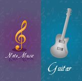 Music notes and guitar Royalty Free Stock Images
