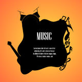 Music notes guitar and drumset with space for text back Stock Images