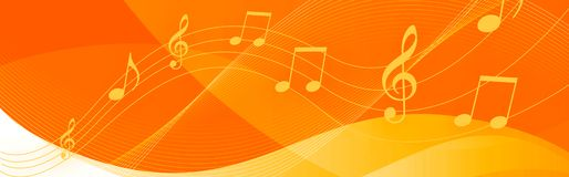 Music notes header. White Music notes and symbols on a bright orange background Stock Photography
