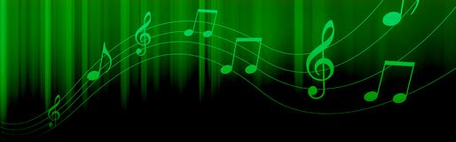 Music notes header. Bright green Music notes and symbols on a dark black background Royalty Free Stock Photography