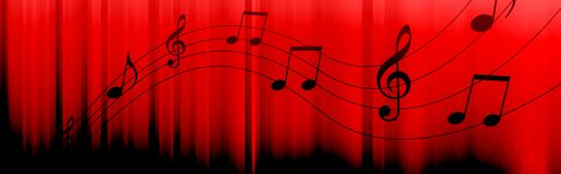 Music notes header. Black Music notes and symbols on a dark red background Stock Image