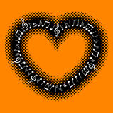 Music notes with heart frame. Vector illustration of music notes with heart frame Stock Photography