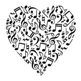Music Notes Heart. A simple illustration of music notes heart shape with treble and clef on white background royalty free illustration