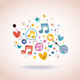 Music notes, hearts and dots abstract art illustration Stock Photos
