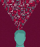 Music notes human man head illustration Stock Photography