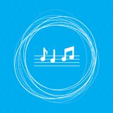 Music notes icon on a blue background with abstract circles around and place for your text. Illustration Stock Image