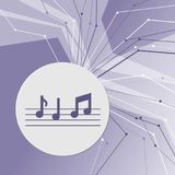 Music notes icon on purple abstract modern background. The lines in all directions. With room for your advertising. Stock Photos