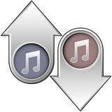 Music notes icon on up and down arrows. Up and down arrows with music note icons indicating popularity, price, or volume Royalty Free Stock Images