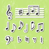 Music notes icons. Editable set stock illustration