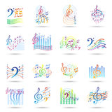 Music notes icons set Royalty Free Stock Photography