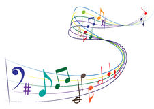 Music notes. An illustration of colorful music notes isolated on white background Stock Photos