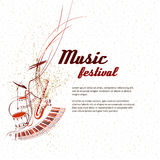 Music. Notes, lines, musical instruments. Simplified vector illustration - Music. Notes, lines, musical instruments stock illustration