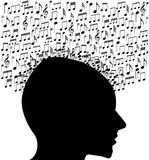 Music notes. Listening to a music song playing Stock Photos