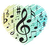 Music notes with love heart lines background. Vector illustration of music notes in hearts line  background - isolated on white Royalty Free Stock Photo