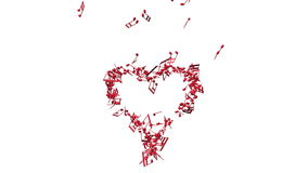 Music notes making one big heart stock video footage