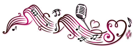 Music notes, microphone Stock Photo