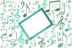 Music notes mockup on white background with wooden frame in center with free vlank copy space stock illustration
