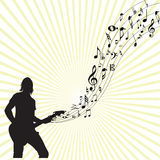 Music notes moving from a guitar Stock Photography