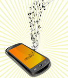 Music notes moving from a phone Stock Photo