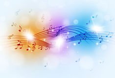Music Notes Multicolor Background. Abstract music notes and blurry lights on bright multicolor background stock images