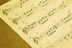 Music notes, music sheet. Stock Images
