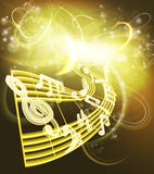 Music Notes Musical Background. A music background featuring musical music notes woth a neon like glow in gold colors Stock Image