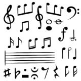 Music notes. Musical note key silhouette, treble clef sound melody art vector symbols stock illustration