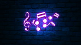 Music Notes Neon Light royalty free illustration