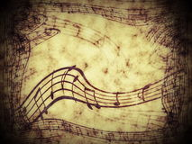 Music notes on old paper Royalty Free Stock Images