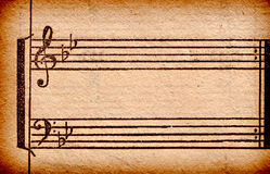 Music notes on old paper sheet. To use for the background Stock Images