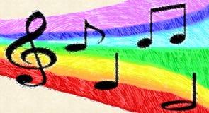 Music Notes On Rainbow Stock Image