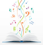 Music notes on open book background. Illustration of music notes on open book background royalty free illustration