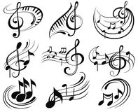 Music notes. Ornamental and decorative music notes