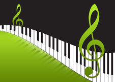 Music Notes and piano keyboard. 2d Music notes and piano keyboard  in green gradient background Stock Photography