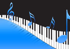 Music Notes and piano keyboard. In blue background Royalty Free Stock Photos
