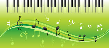 Music notes with piano keys. Music notes on swirls with piano keys Royalty Free Stock Photo