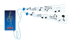 Music notes from player. Illustration of a portable audio player with musical notes dancing from headphones Stock Photography