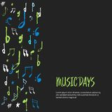 Music notes poster background. Modern colorful abstract musical sheet. Vector illustration.  stock illustration