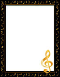 Music Notes Poster Frame. Black border filled with golden music notes and treble clef. Copy space for music announcements, fliers, concerts, performances Stock Photos
