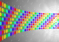 Music Notes and Rainbow Colors Dots in Blurred Gray Background. Illustration of music notes flowing on circular stave with a treble clef in center and curving stock illustration