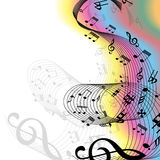 Music Notes Rainbow. Vector illustration of music notes on a white and colorful rainbow decorated background stock illustration